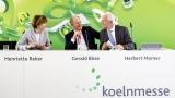 Jahrespressekonferenz 2018. V.l.n.r.: Henriette Reker (Oberbürgermeisterin der Stadt Köln und Vorsitzende des Aufsichtsrats der Koelnmesse), Gerald Böse (Vorsitzender der Geschäftsführung), Herbert Marner (Geschäftsführer).