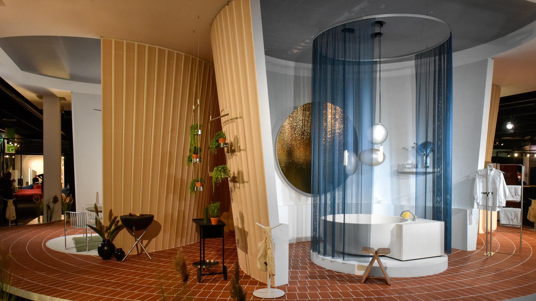 Stand: Das Haus, Pure Editions, Badezimmer, blau, weiß, Halle 3.1, imm cologne 2020